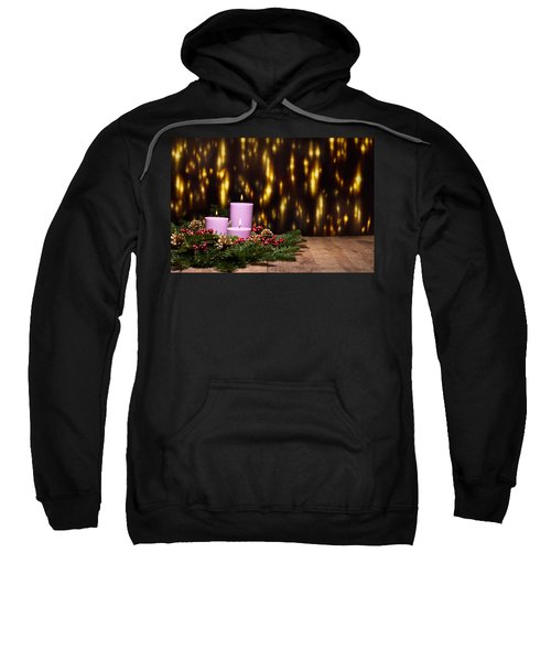 Three Candles In An Advent Flower Arrangement Sweatshirt