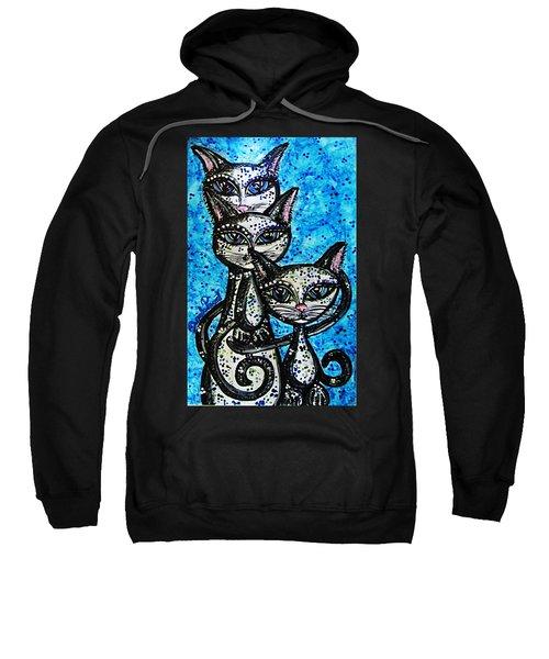 Three Grey Cats-alcohol Inks Sweatshirt