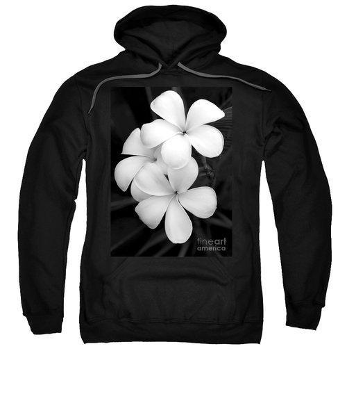Three Plumeria Flowers In Black And White Sweatshirt