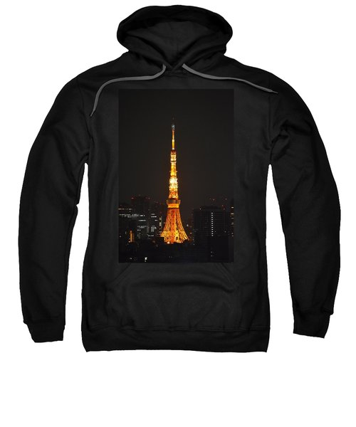 Tokyo Tower And Skyline At Night From Shinagawa Sweatshirt by Jeff at JSJ Photography