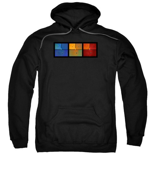 Triptych Blue Green Red - Colorful Rust Sweatshirt
