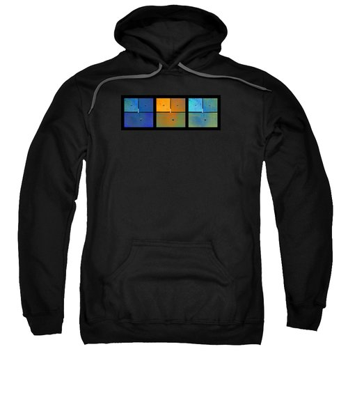 Triptych Blue Orange Cyan - Colorful Rust Sweatshirt