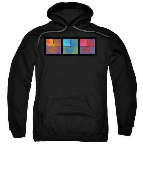 Triptych Gold Cyan Magenta - Colorful Rust Sweatshirt