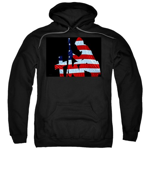 A Time To Remember United States Flag With Kneeling Soldier Silhouette Sweatshirt