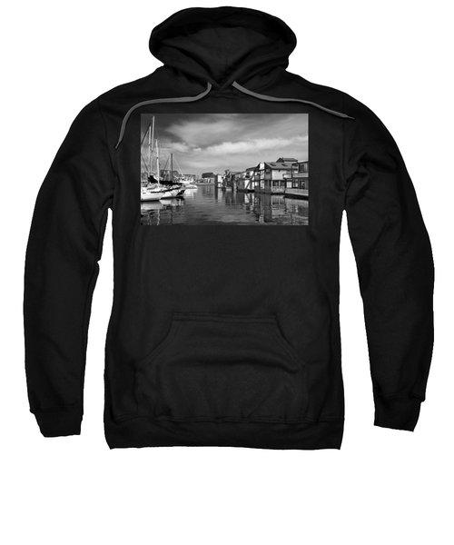 Veiw Of Marina In Victoria British Columbia Black And White Sweatshirt