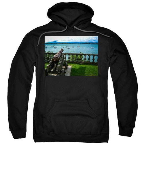 Sweatshirt featuring the photograph Weathered Cannon Guards Ireland's Historic Bantry Bay by James Truett