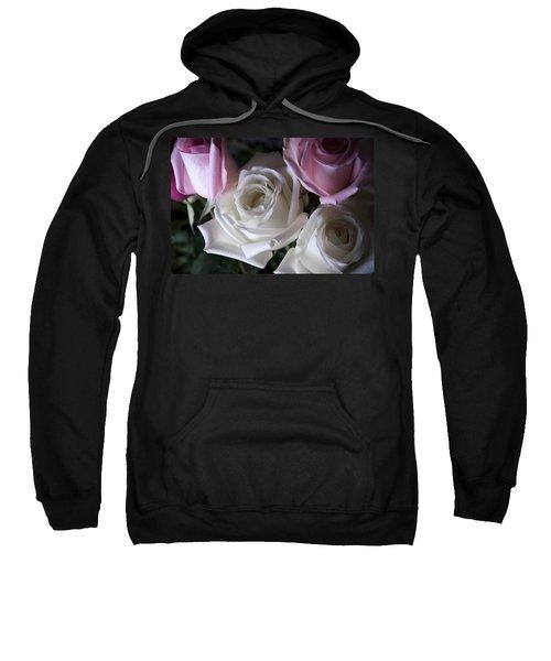 White And Pink Roses Sweatshirt