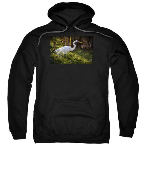 White Egret On The Hunt Sweatshirt