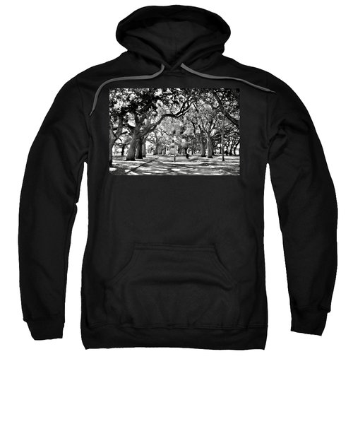 White Point Gardens At Battery Park Charleston Sc Black And White Sweatshirt