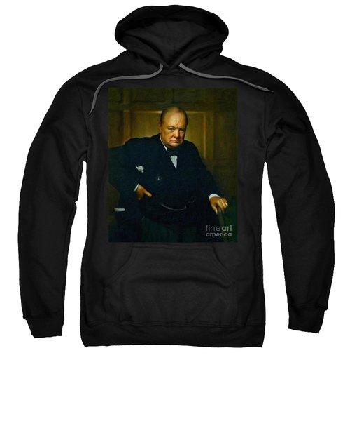 Sweatshirt featuring the painting Winston Churchill by Adam Asar