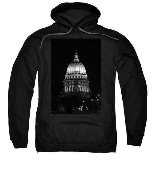 Wisconsin State Capitol Building At Night Black And White Sweatshirt