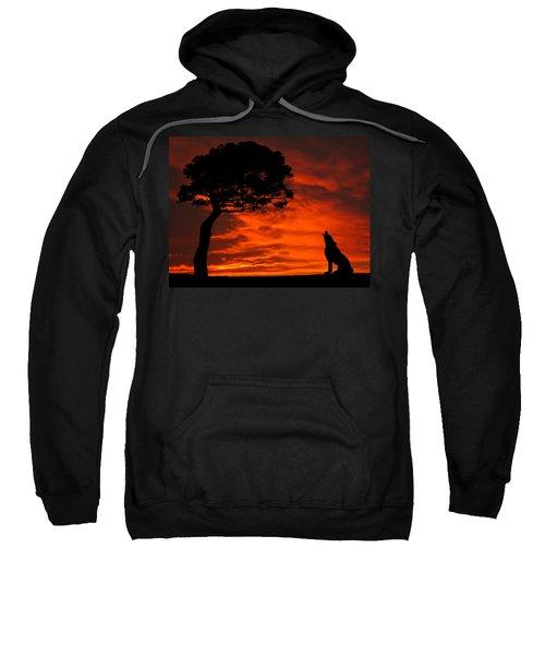 Wolf Calling For Mate Sunset Silhouette Series Sweatshirt