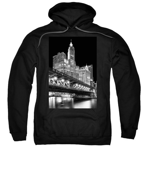 Wrigley Building At Night In Black And White Sweatshirt
