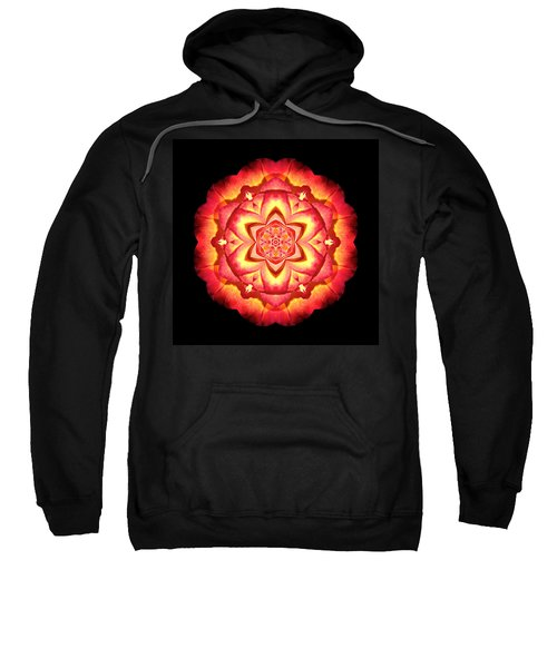 Yellow And Red Rose II Flower Mandalaflower Mandala Sweatshirt