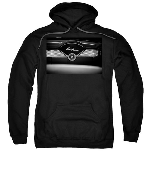 1955 Chevy Bel Air Glow Compartment In Black And White Sweatshirt