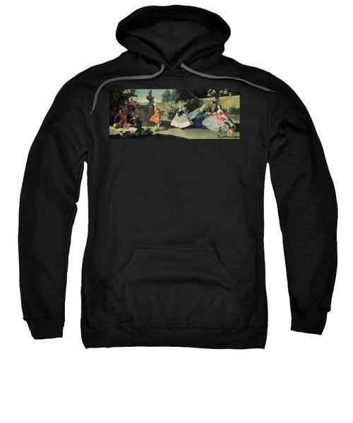 An Ornamental Garden With A Young Girl Dancing To A Fiddle Sweatshirt