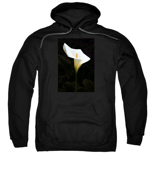 Sweatshirt featuring the photograph Lily On Black by Nareeta Martin