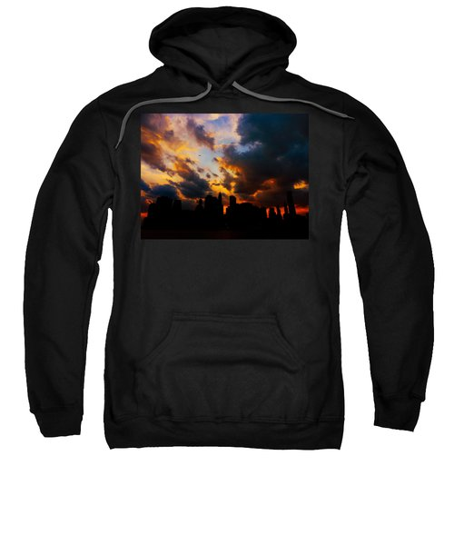 New York City Skyline At Sunset Under Clouds Sweatshirt