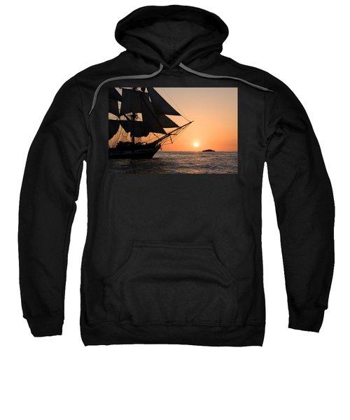 Silhouette Of Tall Ship At Sunset Sweatshirt