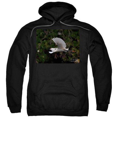 Snowy Egret In Flight Sweatshirt