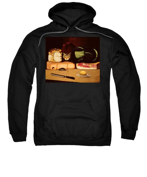 Still Life With Cat And Mouse Sweatshirt by Anonymous
