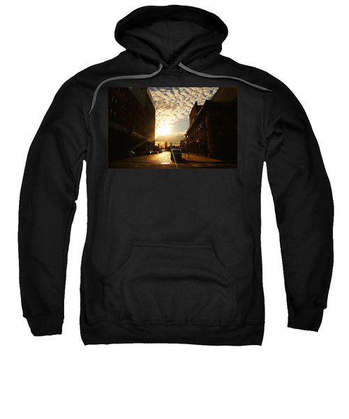 Summer Sunset Over A Cobblestone Street - New York City Sweatshirt