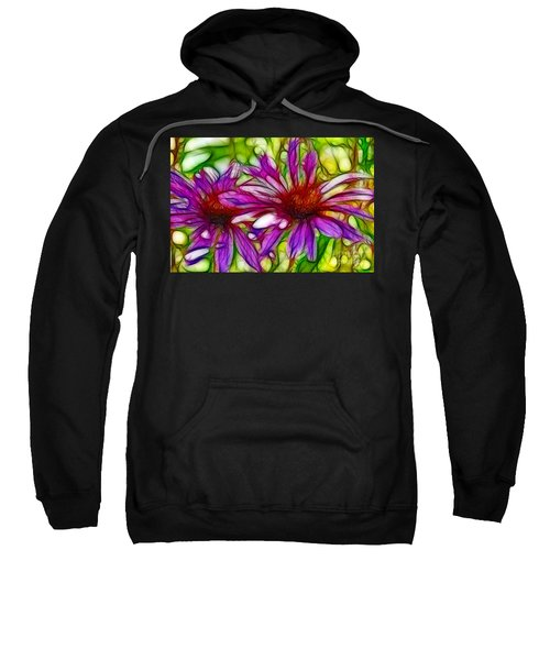 Two Purple Daisy's Fractal Sweatshirt
