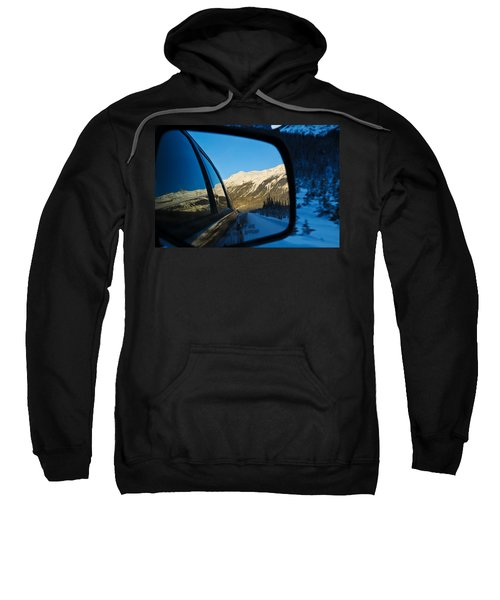 Winter Landscape Seen Through A Car Mirror Sweatshirt