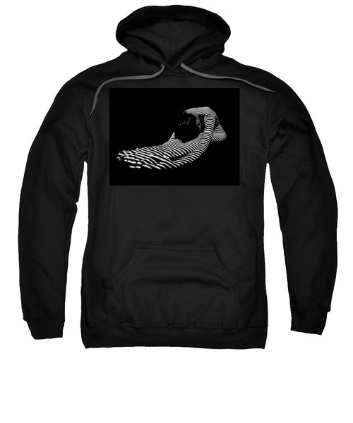 Sweatshirt featuring the photograph 0086-dja Feet First Zebra Woman Striped Black White  by Chris Maher
