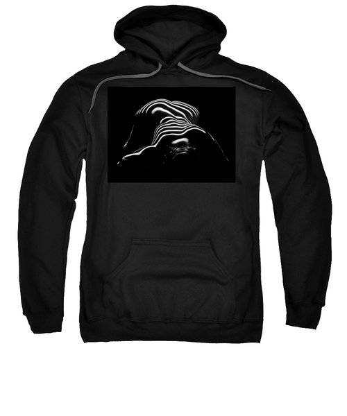 Sweatshirt featuring the photograph 0686-ar Head Down Bottom Up Zebra Striped Female Figure by Chris Maher