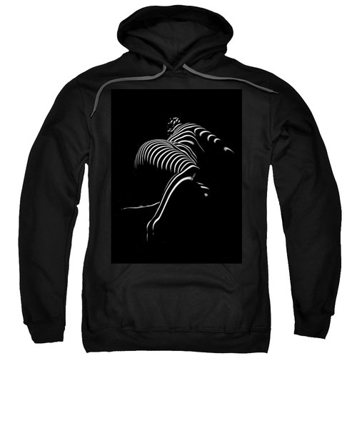 Sweatshirt featuring the photograph 0773-ar Striped Zebra Woman Side View Abstract Black And White Photograph By Chris Maher by Chris Maher
