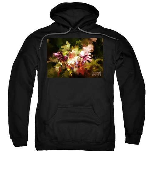 Sweatshirt featuring the painting Abstract Flowers by Tithi Luadthong