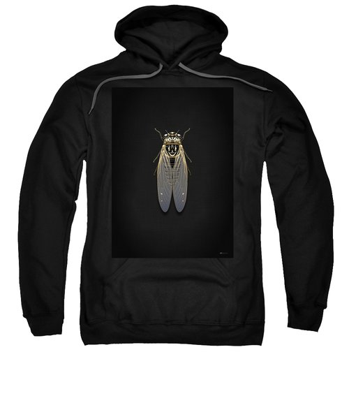 Black Cicada With Gold Accents On Black Canvas Sweatshirt by Serge Averbukh