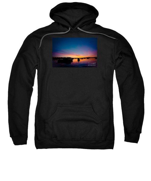 Boats And Sunrise Above Lake Water Summer Time Latvia Ezera Skanas Sweatshirt