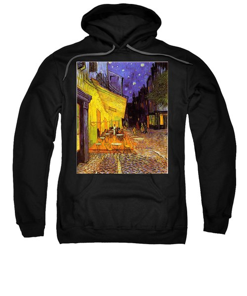 Sweatshirt featuring the painting Cafe Terrace At Night by Van Gogh