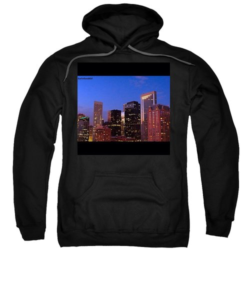#houston #skyline At Dusk. #night Sweatshirt by Austin Tuxedo Cat