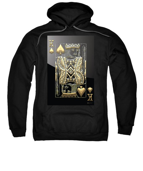 King Of Spades In Gold On Black   Sweatshirt