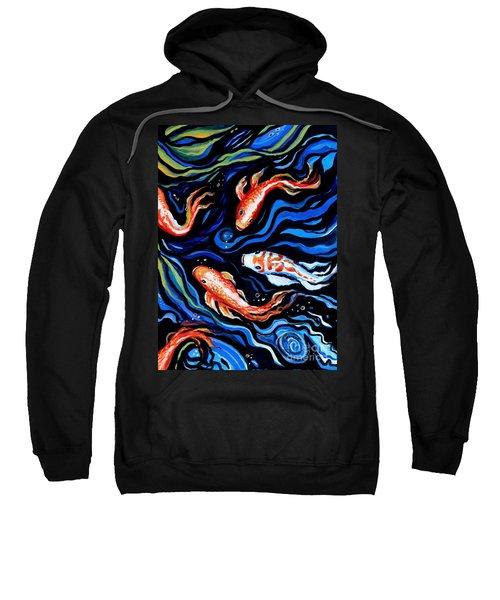 Koi Fish In Ribbons Of Water Sweatshirt