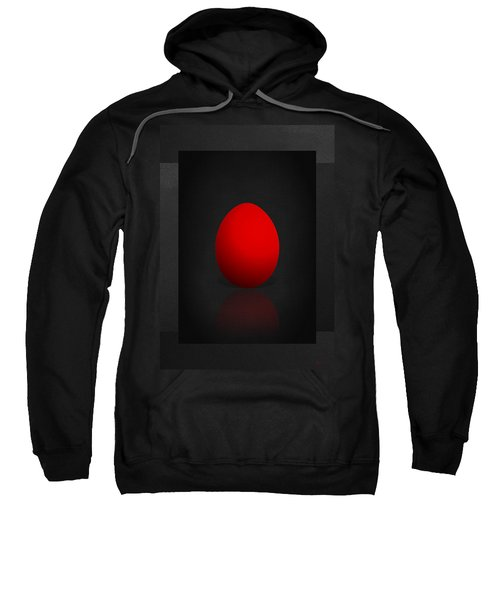Red Egg On Black Canvas  Sweatshirt by Serge Averbukh