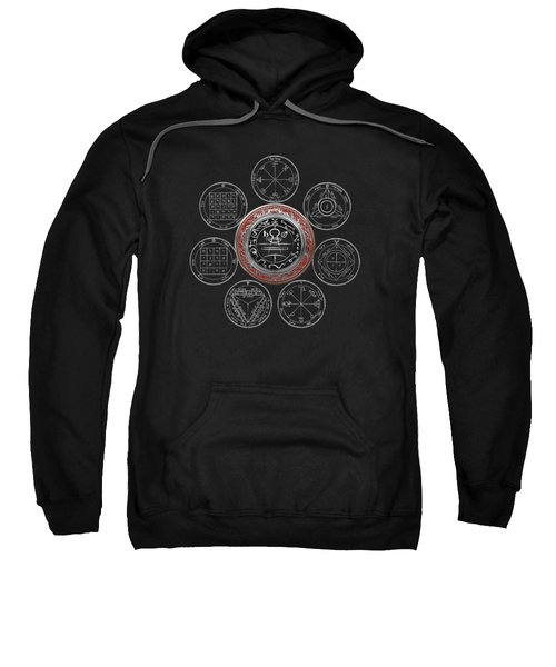 Silver Seal Of Solomon Over Seven Pentacles Of Saturn On Black Canvas  Sweatshirt