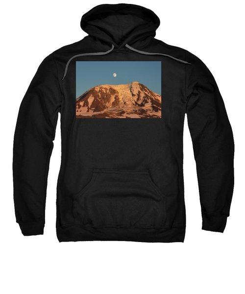 Sunset And Moonrise At Mt Adams Sweatshirt