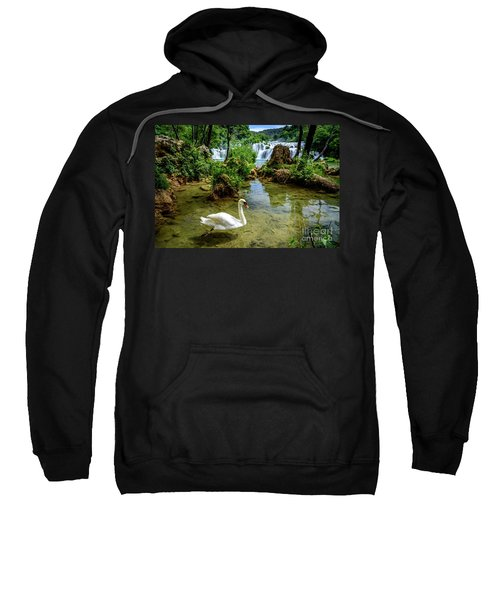 Swan In The Waterfalls Of Skradinski Buk At Krka National Park In Croatia Sweatshirt
