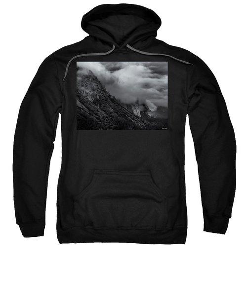 Yosemite Valley Panorama In Black And White Sweatshirt