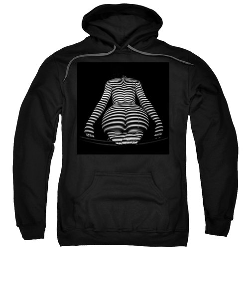 Sweatshirt featuring the photograph 1249-mak Zebra Woman Rear View Striped Sexy Nude  by Chris Maher