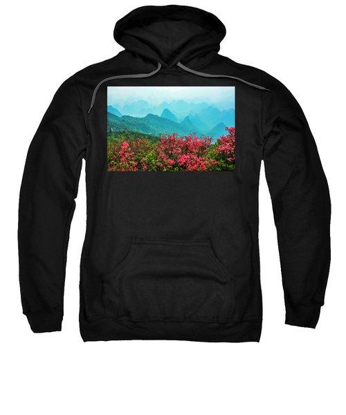 Blossoming Azalea And Mountain Scenery Sweatshirt