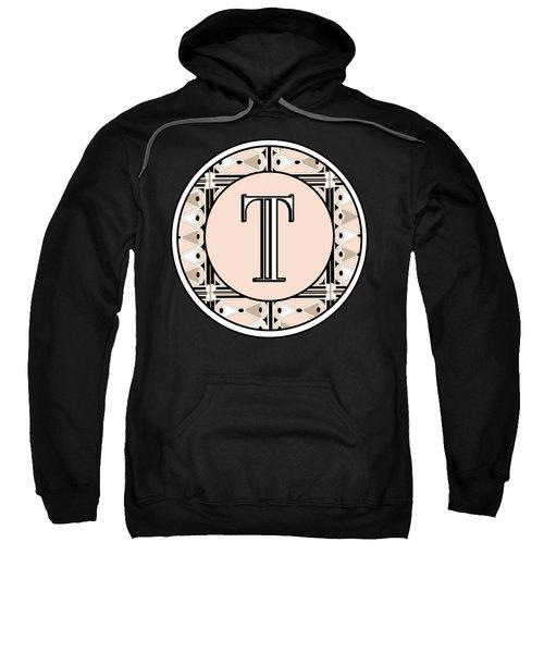1920s Pink Champagne Deco Monogram  T Sweatshirt
