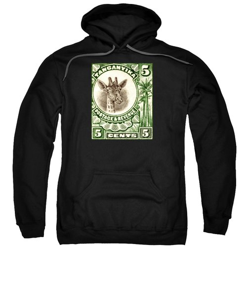1922 East African Giraffe Stamp Sweatshirt by Historic Image