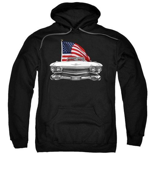 1959 Cadillac With Us Flag Sweatshirt