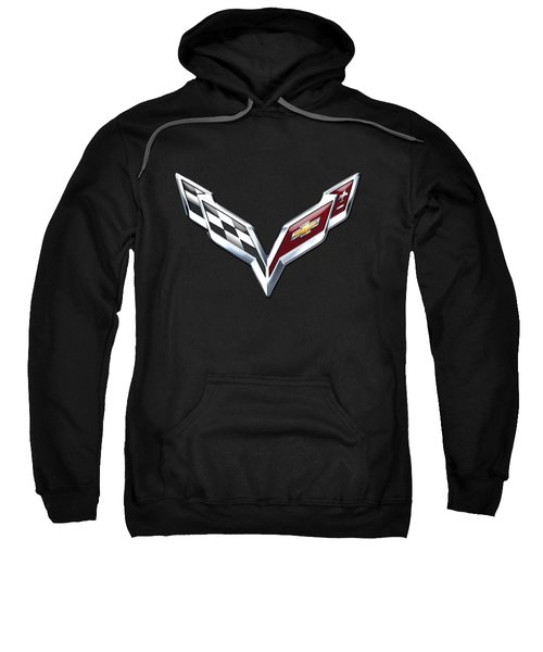 Chevrolet Corvette 3d Badge On Black Sweatshirt by Serge Averbukh