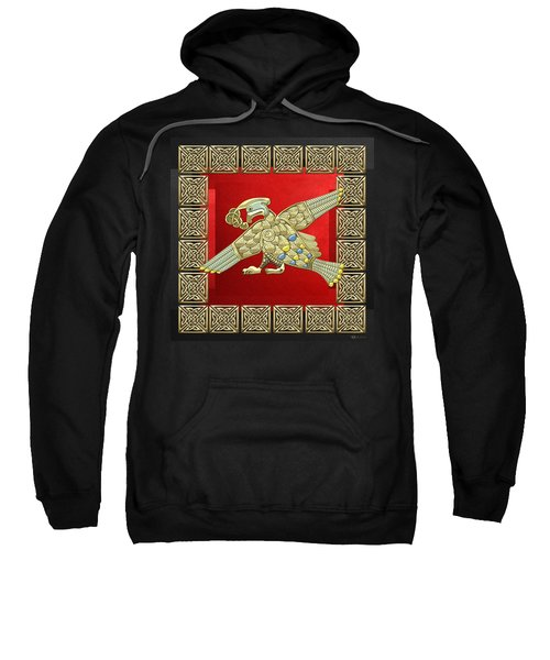 Sacred Celtic Bird On Red And Black Sweatshirt by Serge Averbukh